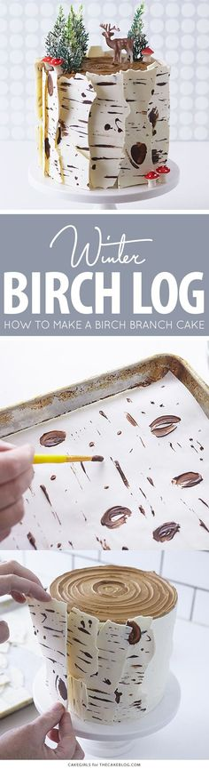 Learn how to make this wintry, birch cake that looks just like a natural birch branch Birch Log Cake! Learn how to make this wintry, birch cake that looks just like a natural birch branch with a simple step-by-step tutorial Pretty Cakes, Cute Cakes, Beautiful Cakes, Amazing Cakes, Christmas Desserts, Christmas Treats, Christmas Baking, Christmas Log Cake, Christmas Cake Decorations