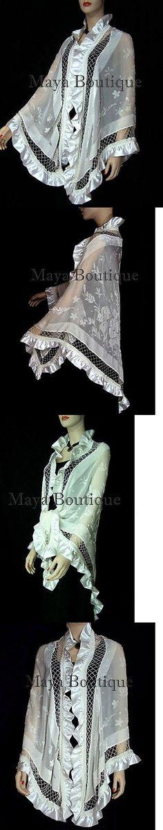 Wraps and Jackets 105472: Ivory Shawl Scarf Wrap Silk Beaded Burnout Velvet Triangle Ruffles Maya Matazaro -> BUY IT NOW ONLY: $179.99 on eBay!