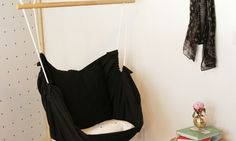 This DIY interior hammock is such a fun, easy, and inexpensive addition to any room in need of a little extra relaxation!  Petite Modern Life for Designer Trapped in a Lawyer's Body
