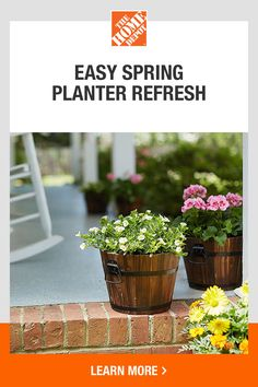 Discover how easy it is to garden with help from The Home Depot. Now is the perfect time to test out your green thumb and refresh your patio or porch with new planters and flowers from The Home Depot. Our guide breaks down what you should consider when buying flowers, planters and soil. Click to learn more.