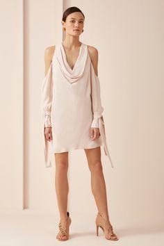 bf8ef639cb9d Beautiful KEEPSAKE Twin Peaks Pale PINK Cold Shoulder Mini DRESS Size L  #fashion #clothing