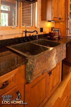 Log Home By, Golden Eagle Log Homes - Kitchen - Apron Sink - Lodge