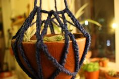 crocheted plant hanger