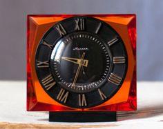 Soviet clock Russian clock Mechanical clock Rare crystal clock- Molnija / Molniya - from Russia / Soviet Union / USSR