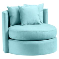 Round-About Chair | PBteen - cute accent chair for corner In white w/ blue pillows