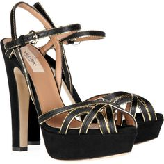 Valentino Chain-trimmed suede platform sandals ($470) ❤ liked on Polyvore
