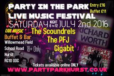 Party In The Park Hurst Berkshire live music festival 2nd July 2016. Bands include The Scoundrels the PFJ (the Peoples Front of Judea) Gigabit