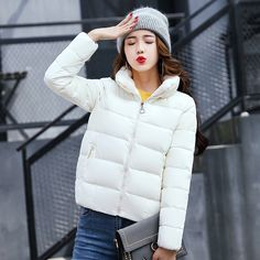bf8492e7162 Q-IMAGE 2017 New women winter coats casual bat sleeved thick Stand collar  Zipper warm