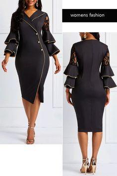 Falbala Long Sleeve Lace V-Neck Button Dress#dress#fashion African Fashion Designers, African Men Fashion, African Fashion Dresses, Fashion Outfits, Womens Fashion, Dress Fashion, Elegant Dresses For Women, Casual Tops For Women, Classy Dress