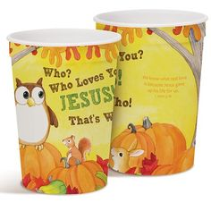 Christian Halloween, cute owl and harvest graphic party cups.