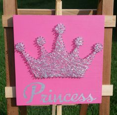 $32 Etsy String Art Sparkle Tiara. Princess in hot pink by NailedItDesign.etsy.com NailedItStringArt.com