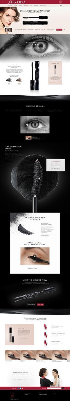"""Design & Création d'un mini-site en Responsive Design pour la marque de luxe """"Shiseido"""" - Landing page - #mascara  #luxe #design #responsive #scroll #clean #ux #ui"""