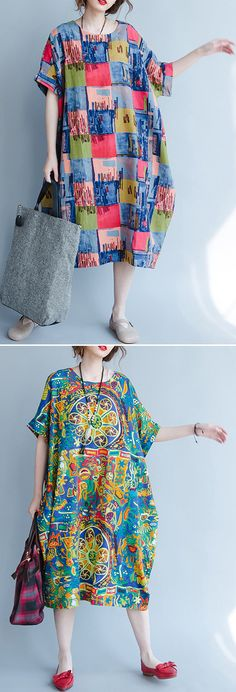 US$ 27.00 O-NEWE Casual Loose Batwing Sleeves Printed Dresses For Women
