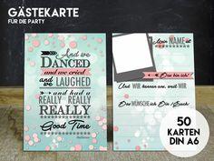 Partyspiele - 50 GÄSTEKARTEN für die Party - ein Designerstück von KleineFabrik bei DaWanda
