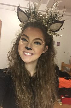 Deer makeup for Halloween!                                                                                                                                                                                 More
