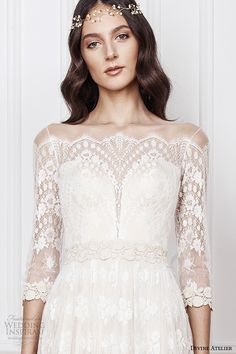 divine atelier 2016 bridal gowns scalloped sheer off the shoulder plunging sweetheart neckline 3 quarter sleeves fully embellished bohemian lace sheath wedding dress sheer back (aimee) zv