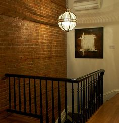 Awesome Bathroom Design Ideas: Traditional Hall With Staircase Exposed Brick Wall Milton Interior