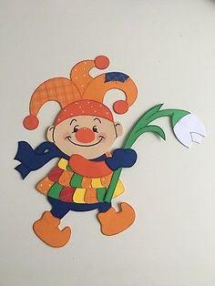 Fensterbild clown im geschenk fasching karneval dekoration tonkarton fastnacht - Fensterdeko karneval ...