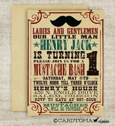 MUSTACHE BASH Boy BIRTHDAY Party Invitation Digital diy Printable Cards Poster - 84190110. $13.50, via Etsy.