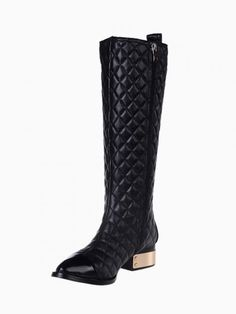 Quilted Metallic Heeled Knee Boots