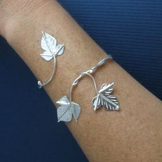 Ive designed an ivy leaf bracelet wrap cuff, much similar to the ivy headpiece but this can be worn for many occasions, such as a themed wedding event, or Bracelets En Argent Sterling, Sterling Silver Jewelry, Silver Ring, Silver Earrings, Silver Cuff, Crystal Jewelry, 925 Silver, Bracelet Wrap, Cuff Bracelets