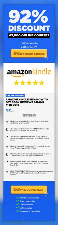 Amazon Kindle SEO: How To Get Book Reviews & Rank #1 In 2018 Home Business, Business  Not Selling Enough Books? Become An Amazon Bestselling Author By Using My Amazon SEO Review System. Get To Page #1 Now! THE #1 COURSE ABOUT GETTING BOOK REVIEWS & RANKING ON PAGE #1 ON AMAZON MY KINDLE BOOK REVIEW COURSE is all you need to publish or revive your book to page #1 of Amazon search. You will le...