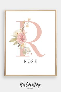 Printable Blush and Grey Baby Name Gold Nursery, Chic Nursery, Pink And Grey Nursery Baby Girl, Boho Chic, Name Decorations, Free Poster Printables, Monogram Wall Art, Blush And Grey, Name Wall Art