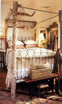 How to Create Shabby Chic Bedroom Cowgirl bedroom from the former Outpost b&b in Round Top, Texas . now the prairie by rachel ashwell by regina. Shabby Chic Salon, Shabby Chic Dining, Shabby Chic Guest Room, Shabby Chic Bedroom Furniture, Shabby Chic Bedrooms, Chic Bedding, Cowgirl Bedroom, Western Bedroom Decor, Western Rooms