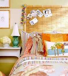 Tropical headboard- reed fencing framed with bamboo