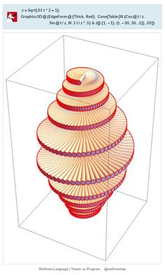 z=Sqrt[.01t^2+1];Graphics3D@{EdgeForm@{Thick,Red}, Cone[Table[#{Cos@t/z,Sin@t/z,# .1t/z^.5}&/@{1,-1},{t,-30,30,.1}],.05]}