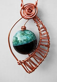 """""""Leaf""""- agate and coopper pendant"""