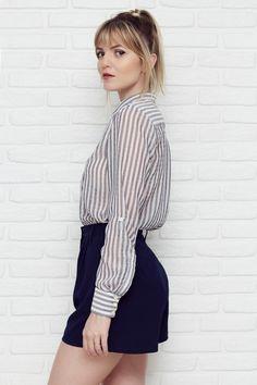 Camisão Sônia | Rita Prado Atelier. 100% Poliéster. Striped Blouse. Fashion Design © Rita Prado