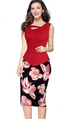 MisShow 5XL Floral Bodycon Work Dress 2018 Spring Summer Women Pencil Dress  Christmas Dress Plus Size Formal Dress 902fccf19