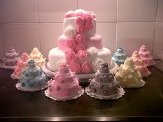 3 Tier Cake and 3 Tier mini cakes