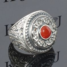 925 Sterling Silver Men's Ring with Carnelian Unique handcrafted mens jewellery #KaraJewels #Handmade