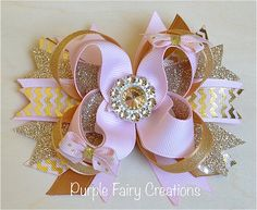 Gold and Baby Pink Holiday Stacked Boutique Bow - Baby Girl, Newborn, Infant, Toddler, Child, No Slip Grip Clippie (Hair Clip or Headband) Christmas, OTT Bow, Twisted Bow by PurpleFairyCreations