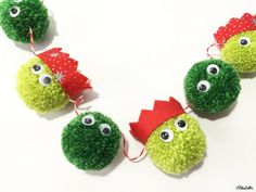 Christmas Sprout Pom Pom Garland, Festive Wall Hanging, Brussel Sprouts, Party Hats, Decoration, Xmas Decorations, Home Decor, Bunting, Fun