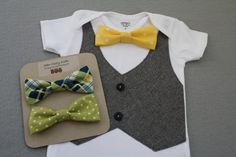Yellow Green and Blue Bow Tie Set with Gray Vest on by SewCozyKids, $33.00