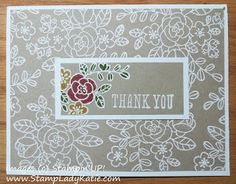 WHITE EMBOSSED background on CRUMB CAKE cardstock. So pretty with just a little color.  Stampin'UP!'s SO VERY GRATEFUL Stamp Set.