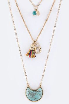 {Mix Charms Multi Layered Necklace Set}
