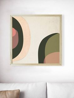 Printable Millennial Pink Forest Green Mid Century Modern Print | Blush Pink Print | Abstract Geometric Art | Green Print | Pink Wall Art  PLEASE NOTE:  This listing is an INSTANT DIGITAL DOWNLOAD SET OF THESE TWO PRINTS. No physical artwork will be sent. Once purchased, you will Modern Art Prints, Wall Art Prints, Fine Art Prints, Green Wall Art, Pink Wall Art, Pink Forest, Abstract Geometric Art, Scandinavian Art, Green Print