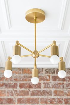 Modern Chandeliers - Industrial Hanging Light - Brass Ceiling Lamp - Industrial Chic Lamp - Model No. Mobile Chandelier, Chandelier Ceiling Lights, Modern Chandelier, Ceiling Lamp, Chandeliers, Room Lights, Gold Wall Lights, Gold Ceiling Light, Industrial Hanging Lights