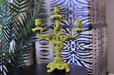 Wall Lights, Retro, Green, Eclectic, Flocking, Upcycled Furniture, Candle Sconces, Candelabra, Ornate