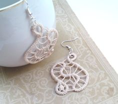 Ivory freeform earrings crochet romanian point lace by TinyOrchids Made by me... for you!