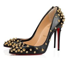 Aimantaclou 100 Noir/Or Cuir Nappa - Souliers Femme - Christian Louboutin Cl Shoes, Pump Shoes, Black Shoes, Studded Heels, Studded Leather, Red Leather, Stilettos, Stiletto Heels, High Heels