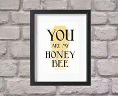 Printable Art Honey Bee Print Geometric Bee Print by DesignPlenty