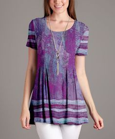 Purple Abstract Pleated Scoop Neck Tunic - Plus Too
