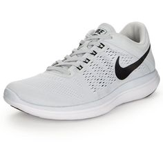 Nike Flex 2016 Run (155 BRL) ❤ liked on Polyvore featuring shoes, athletic shoes, traction shoes, lock shoes, nike, white shoes and nike athletic shoes