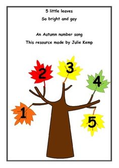 5 little leaves so bright and gay, were dancing about on the tree one day... An Autumn number song/rhyme. The last page is designed to make your own story board resource.
