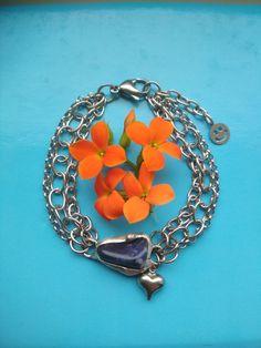 Sodalitový náramok z chirurgickej ocele Heart Charm, Charmed, Pendant Necklace, Bracelets, Jewelry, Jewlery, Jewerly, Schmuck, Jewels